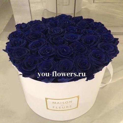 33 синие розы в коробке