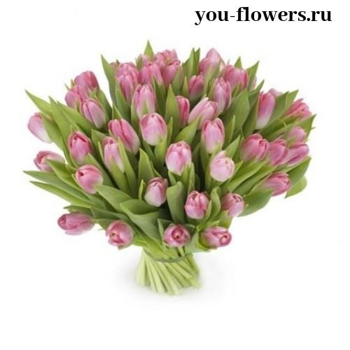 65 розовых тюльпанов