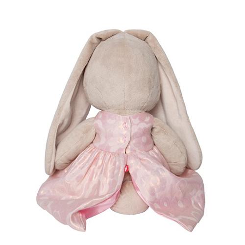Зайка Ми большая в розовом платье с цветком 34 см