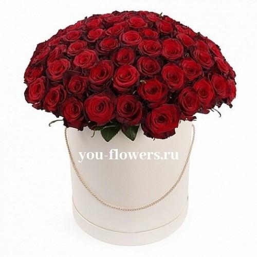 Букет 101 красная роза в шляпной коробке