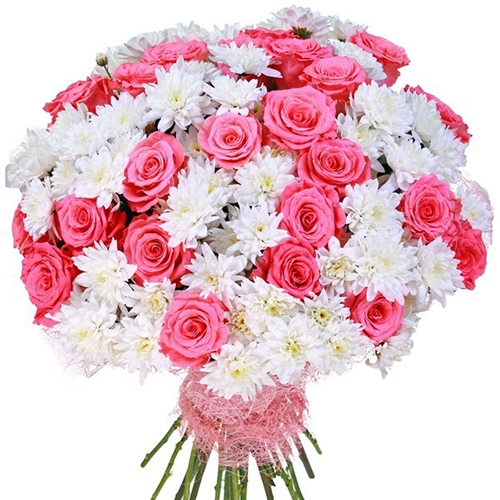 Букет роз с хризантемами 51 шт