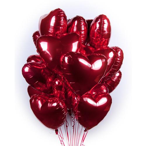 Фольгированные шары сердце 15 шт